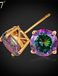 U7® Women's Mystic Rainbow Earrings for Women CZ Jewelry Platinum/Gold Plated Exquisite Cubic Zirconia Stud Earrings