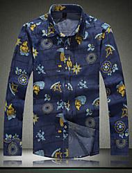 Men's New  long Sleeved Denim Floral Shirt