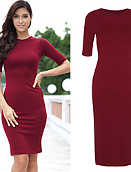 Women's Round Dresses , Organic Cotton/Rayon Sexy/Casual/Party/Work Long Sleeve Phylomeya