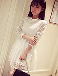 Vestido de maternidad Sobre la rodilla Poliéster - Escote Chino Manga Larga