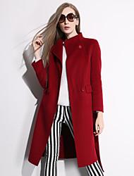 Autumn new high-end handmade woolen jacket coat pure wool fleece Women's Long Sleeve Wool Coat , Vintage/Sexy/Party/Work