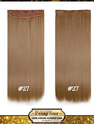 alta temperatura de resistencia rubio fresa de 24 pulgadas (# 27) larga recta 5 extensión peluca clip de 16 colores disponibles
