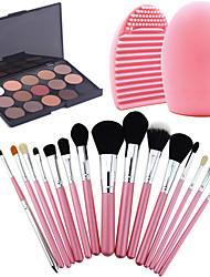 15Pcs Pro Cosmetic Make Up Brush Set Lipbrush Superior Soft+15 Colors Eyeshadow Warm Nude Matt + Washing Brush Clean