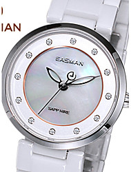 EASMAN® Brand Women Ceramic Watch White Quartz Watch Fashion Casual Rose Gold Case 12 Jewel For Ladies Women Wristwatches Cool Watches Unique Watches