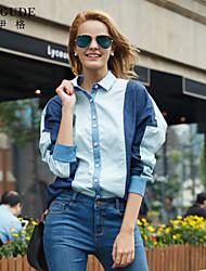 Mulheres Camisa Ombro a Ombro/Colarinho de Camisa Manga Longa Bolso/Botão/Franjas Algodão Mulheres