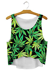 Women's Leaves High-low Hem Crop Top