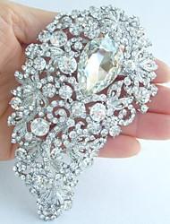 Wedding 4.72 Inch Silver-tone Clear Rhinestone Crystal Flower Brooch Pendant Bridal Bouquet