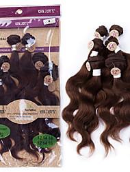 "EVET Brazilian Hair Virgin Weave Color #4 Dark Brown Body Wave Human Hair Bundles 2x12"",2x14"",2x16"" 200g/lot Hair Set"