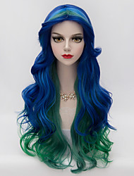 70cm Long Layered Loose Wavy Hair U Part Blue Gradient Green Heat-resistant Synthetic Harajuku Lolita Women Wig