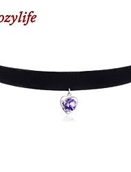"""Cozylife 3/8"""" Womens Girls Black Velvet Gothic Collar Vintage Choker Necklace Sterling Sliver CZ Diamond Heart Pendant"""