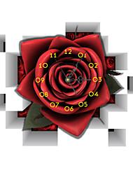 PAG®Modern Design 3D Effect Rose Pattern Clock Sticker 18.94*14.96 in
