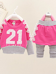 Girl's Cotton Blend Clothing Set , Spring/Fall Long Sleeve,kids Clothing ,Girls Fashion Dress