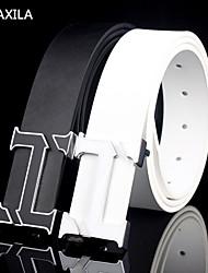 Men Calfskin Waist Belt , Vintage/Party/Work/Casual business casual Trend fashion plate buckle