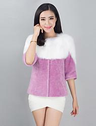 VOAE® Women's Fashion Fox Fur Splicing Genuine/Real Natural Wool Fur Coat/Jacket