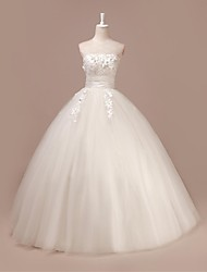 Ball Gown Wedding Dress - Ivory Sweep/Brush Train Strapless Tulle
