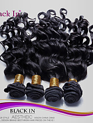 "4 Pcs Lot 12""-30"" Brazilian Nadi Curl Virgin Hair Wefts Jet Black Remy Human Hair Weave  Tangle Free"