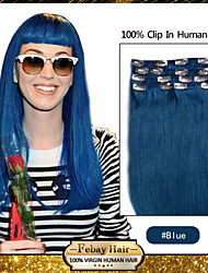 "20 ""blue 7pcs klem in remy human hair extensions"