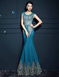 Formal Evening Dress - Burgundy/Ocean Blue Trumpet/Mermaid Jewel Floor-length Stretch Satin