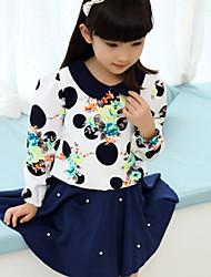 Girl's Sweet Print Beaded Dress