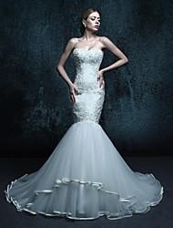 Sereia Vestido de Noiva Cauda Capela Coração Tule com