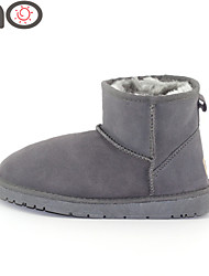 MO New Fashion  Snow Boots and Autumn Cowhide Leather Fur Female Warm Women Winter Women Shoes
