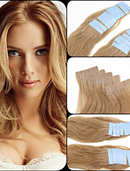"""#12 18"""" 20"""" 22'' Light Brown Blue Tape Glue Extensions Human Colorful Hair Extensions 20 Pieces Straight Skin Weft Hair"""