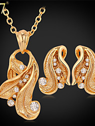 U7® Women's Clear Rhinestone Jewelry Set Platinum/18K Real Gold Plated Fashion Gold Necklace Earrings Set