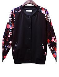 Women's Print Multi-color Casual/Plus Sizes Round Neck Long Sleeve Pocket/Button