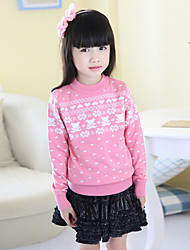Girl's Cotton/Polyester Leisure Crew Neck  Long Sleeve Knitting Cardigan