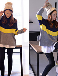 Bomei Woman'S  New Winter Hit Color Stitching Loose Pullover