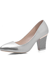 Women's Shoes Patent Chunky Heel/Comfort/Pointed Toe Loafers Outdoor/Dress/Casual Pink/Silver