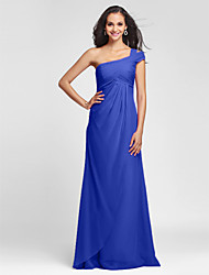 Lanting Bride® Floor-length Chiffon Bridesmaid Dress - Sheath / Column One Shoulder Plus Size / Petite with Side Draping / Criss Cross