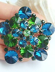 2.36 Inch Gold-tone Turquoise Green Rhinestone Crystal Flower Brooch