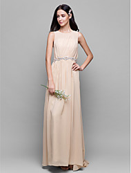 Lanting Bride® Floor-length Chiffon Bridesmaid Dress - Sheath / Column Scoop with Draping