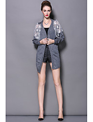 2015 Fall New European and American Women LaceStitching Embroidery Long Solid color Women Knit Cardigan jacket