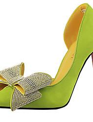 Женская обувь - Pumps/Heels ( Бархат , Черный/Зеленый/Серый/Розовый/Красный ) Высокий тонкий каблук - 4-4,75 дюймов