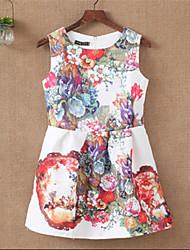 Vestidos ( Algodón Compuesto )- Impresión Redondo Sin Mangas para Mujer