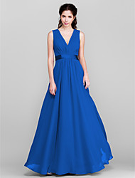 Floor-length Chiffon Bridesmaid Dress - A-line V-neck Plus Size / Petite with Bow(s) / Sash / Ribbon / Side Draping