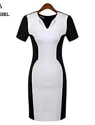 moda vestido de manga curta de cor sexy v pescoço de livagirl®women bloqueando vestido europa escritório senhora vestido estilo de