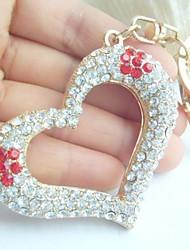 Couple Love Heart Keychain Handbags Pendant With Rhinestone Crystals