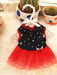 Dog / Cat Dress Red / Black Summer Pearl / Bowknot Wedding / Cosplay