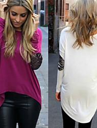 Sexy / Informeel / Zakelijk Rond - VROUWEN - T-shirts ( Katoen )met Lange Mouw