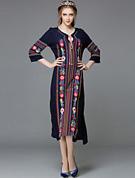 Women's Round Neck Bow/Embroidery/Split/Pleated Dress , Cotton Midi ¾ Sleeve Family Name Wind Dress Party Dress