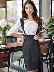 DABUWAWA Women's Casual/Party/Bodycon Check Pattern High Waist Skirts
