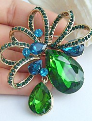 Elegant 2.56 Inch Gold-tone Blue Green Rhinestone Crystal Drop Flower Brooch Art Decorations