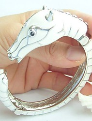 Unique White Horse Bracelet Bangle With Clear Rhinestone crystals