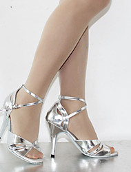 Women's Dance Shoes Latin Leatherette Stiletto Heel Silver/Chocolate Customizable