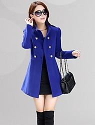 Women's Button/Ruched Coats & Jackets , Cotton Bodycon/Casual Long Sleeve B.L.S