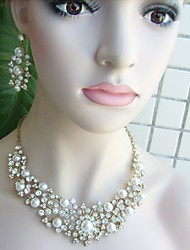 Wedding Necklace Earrings Pearl Rhinestone Necklace Earrings Wedding Bridal Jewelry Wedding Accessory Bridal Necklace