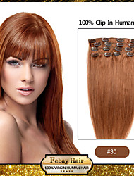 Febay brand 20-22inch 8pcs 100g/set Light Auburn (#30) brazilian virgin hair Clip In Human Hair